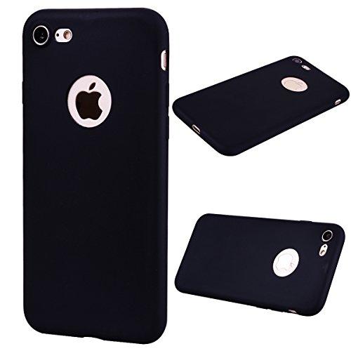 iPhone 7 Custodia , Leiai Moda Nero Peso Leggero Soft Silicone Morbido TPU Cover Case Shell Custodia per Apple iPhone 7