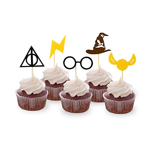 30PCS Wizard Cupcake Toppers, HP Birthday Party Cake Decorations, Wizard Theme Party Supplies]()