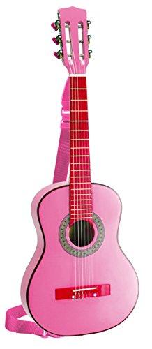 Bontempi Girl - Gsw 7571/s - Guitare En Bois Avec Sangle Et Autocollants - Rose Laqué - 75 Cm