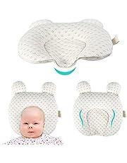 Formande kudde för baby, mjuk baby barnkammare kuddar unisex, nyfödda huvudstöd spädbarn kudde för sömn, förhindrar platt huvud, med björnöron