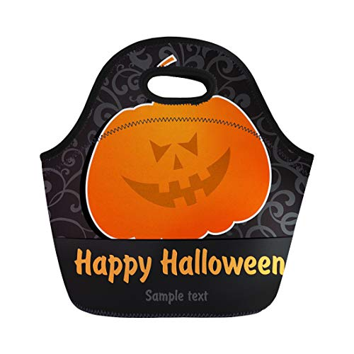 Semtomn Lunch Tote Bag Orange Autumn Happy Halloween Greeting Black Cartoon Celebrate Color Reusable Neoprene Insulated Thermal Outdoor Picnic Lunchbox for Men -