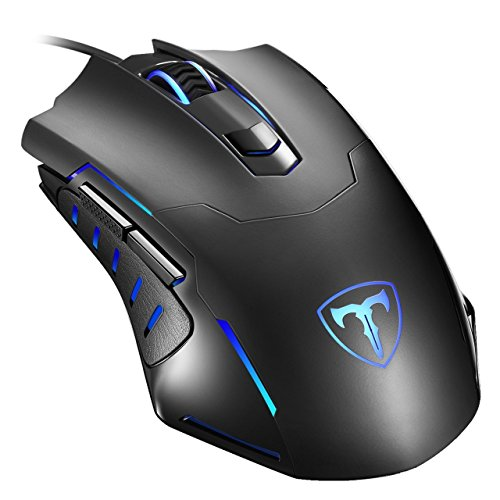 Gaming Mouse Wired, PICTEK Optical Computer Mice with 2400DPI, 4 Adjustable Levels, 6 Breathing Light Modes, 6 Buttons for Laptop and MacBook, Black