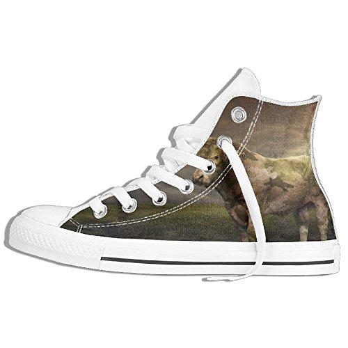 Classiche Sneakers Alte Scarpe Di Tela Antiscivolo Mucca Casual Da Passeggio Per Uomo Donna Bianco