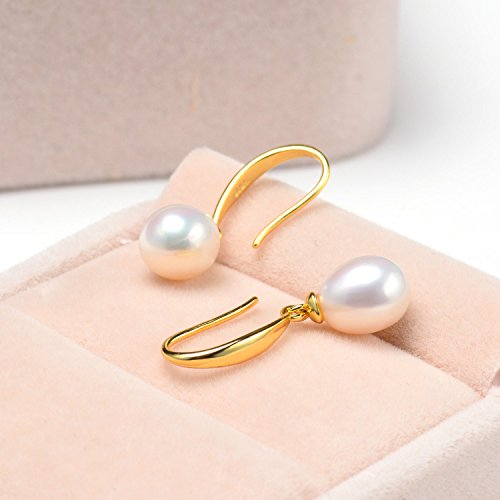 Mothers Day Gifts Joyfulshine Freshwater Cultured Pearl Earrings 14K Gold Dangle Drop Earrings for Women