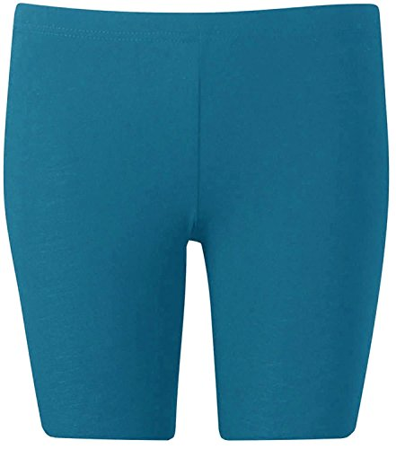 New Womens Plus Size Over Knee Plain Jersey Cycling Shorts ( Indio Blue , 1X )