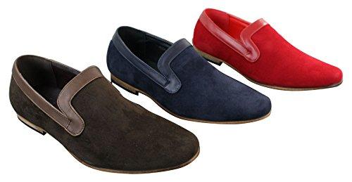 enfiler style à tendance décontracté en bleu daim Rouge rouge PU homme Mocassins marron xwvzg5E6