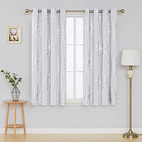 Deconovo Foil Print Flower Design Thermal Insulated Bedroom Window Blackout Curtain 52 x 63 Pair,Grey ()