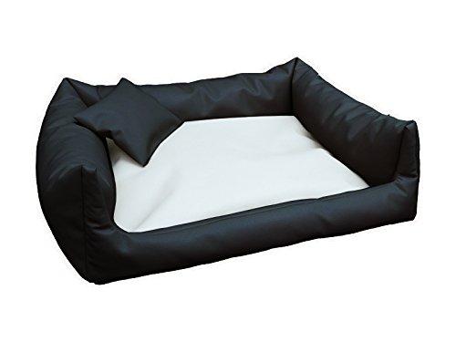 Artur Soja Rex Cuccia Letto Piazza in Eco Pelle XL 90 X 120 colore  Nero Bianco Divano per Cani + Cuscino