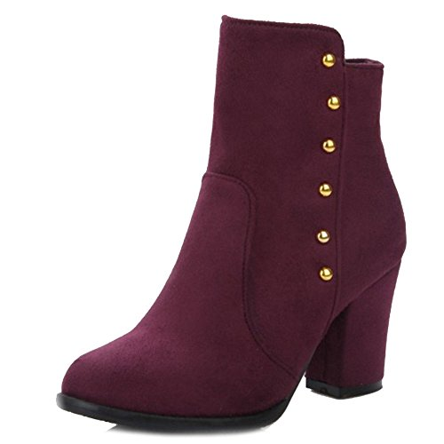 SJJH Women Ankle Boots with Chunky Heel All Match Boots with Large Burgundy