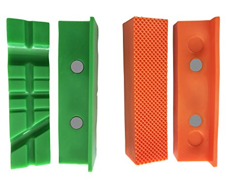 GarMills 2 Pack Magnetic Vise Jaw Pads Covers Protectors 1 Multi-Grooved & 1 Standard Set 4.5 Inch (113mm)