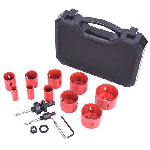 """Bi-Metal Hole Saw Kit, SUNGATOR 18-Piece General Purpose 3/4"""" to 2-1/2"""" Set with Case. Durable High Speed Steel (HSS). Fast Cut Clean, Smooth and Precise Holes Through Metal, Wood, Plastic, Drywall."""
