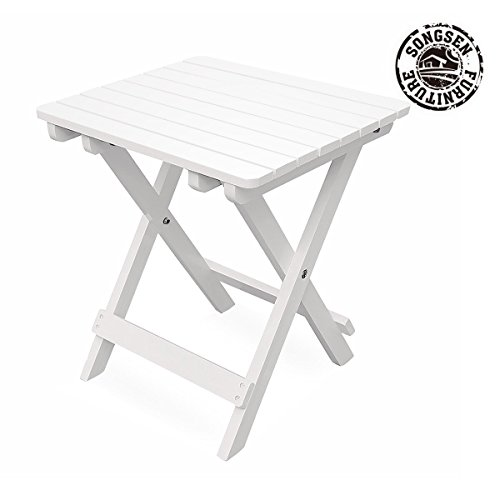 Songsen Fashion Outdoor Wood adirondack Fold Side Table Patio Deck Garden Furniture (Adult,White) Outdoor Wood Garden