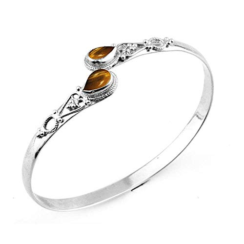 (Natural Pear Shape Tiger Eye Silver Plated Handmade Fashion Cuff Bangle Jewelry )