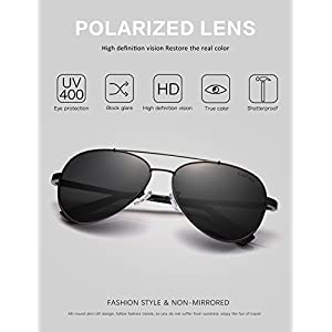 LUENX Men Women Aviator Sunglasses Polarized Non-Mirror Black Lens Black Metal Frame with Accessories UV 400 Protection 60MM