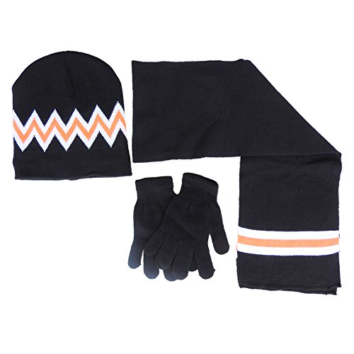 Mashed Clothing Knit Scarf, Hat and Magic Glove Set For Kids (Black Zig Zag)