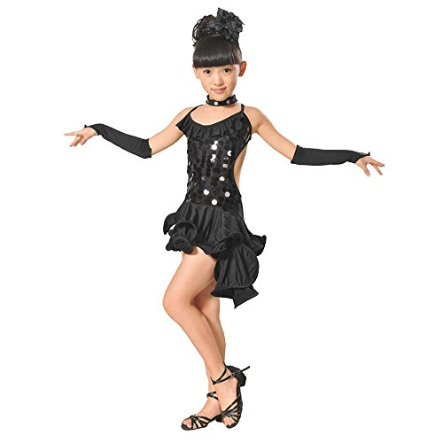 SIN vimklo Kids Girls Latin Ballet Dress Asymmetrical Party Dancewear Dance Costumes 4PCS Black
