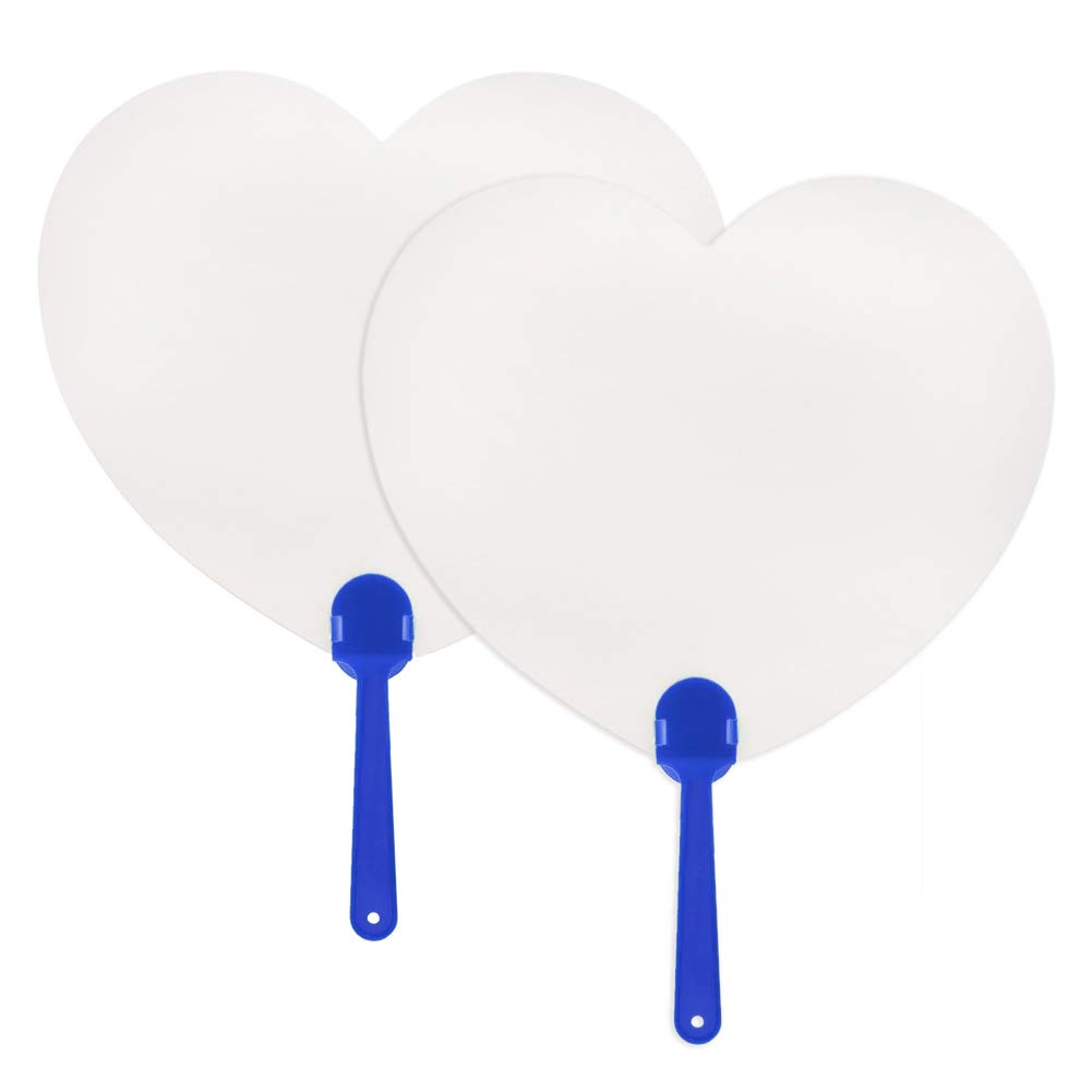 Aspire 300PCS Blank Paper Paddle Fans for Painting Gift for Kids Heart Shape