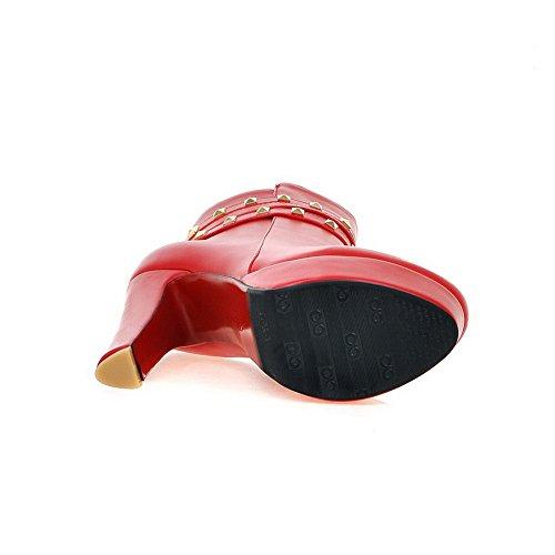 AdeeSu Girls Platform Buckle Zipper Imitated Leather Boots Red XdxBuoW2me