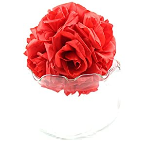 AerWo 10 Pcs/LOT 6 Inch Kissing Ball Pomander Flower Crystal Pew Wedding Silk Party Rose Red 2