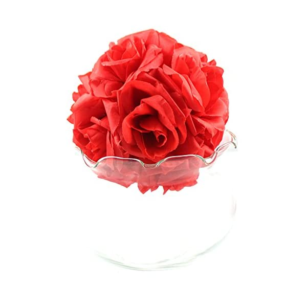 AerWo-10-PcsLOT-6-Inch-Kissing-Ball-Pomander-Flower-Crystal-Pew-Wedding-Silk-Party-Rose-Red