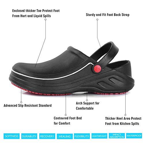 FANTURE Men Women Slip Resistant Specialist Chef Clogs Mulitfunctional Restaurant Kitchen Garden Safety Work Medical Shoes