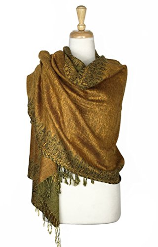 ern Double Layered Reversible Woven Pashmina Shawl Scarf Wrap Stole (#13) ()