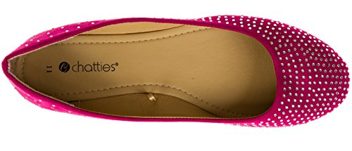 Chatties Ladies Microsuede Ballet Flats With Rhinestones (See More Colors/Sizes) Berry