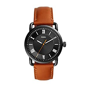 Fossil Men's Copeland 42mm Stainless Steel Quartz Watch with Leather Strap, Brown, 22 (Model: FS5667)