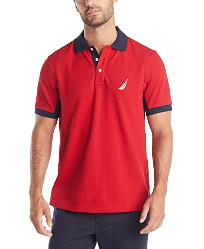 Nautica Men's Classic Fit Short Sleeve Performance Pique Polo Shirt, Red, - Sleeve Shirt Short Polo