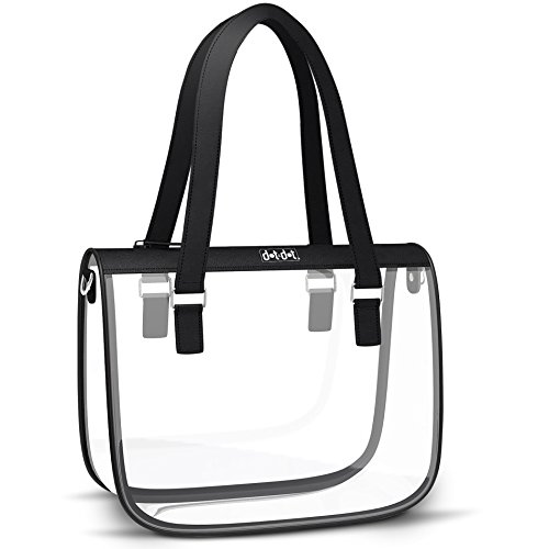 Stylish Clear Bag for Women - PGA and NFL Stadium Approved Transparent Purse for Football Games, Work or School - Heavy Duty, See Through Shoulder Bag, Handbag, Bookbag ()
