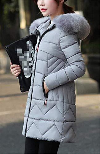 Cappotto Di Piumini Solidi Donna Transizione Cerniera Invernali Giacca Grazioso Grau Pelliccia Biran Con Manica Lunga Coat Colori Laterali Caldo Casual Tasche Cappuccio Collo PYOFTxq