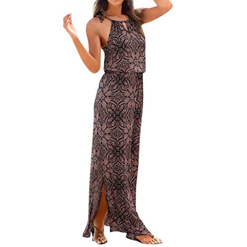 TOTOD Dress - Womens Sleeveless Bohemian Tie-Dye Illusion Print Racerback Long Tank Beach Sundress(Brown,XXL)