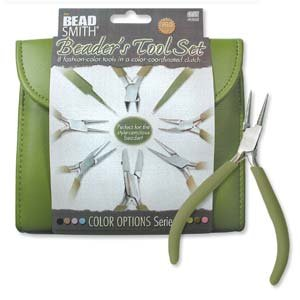 BEADSMITH 8 FASHION- OLIVE COLOR TOOL SET FOR MAKING JEWELRY with COORDINATED CLUTCH CARRY CASE by Beadsmith
