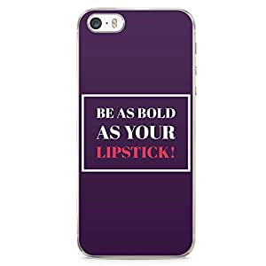 iPhone SE Transparent Edge Phone case Lipstick Phone Case Bold Phone Case Bold Girl iPhone SE Cover with Transparent Frame