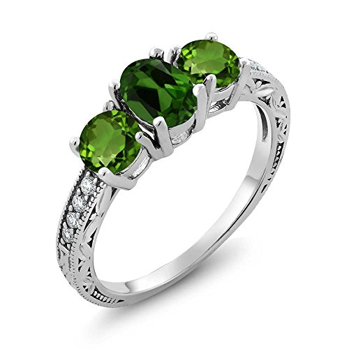 1.92 Ct Oval Green Chrome Diopside 925 Sterling Silver Women's 3-Stone Ring (Ring Size 6) (Diopside Green Ring)