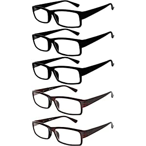 Readers 5 Pack of Elegant Womens Mens Reading Glasses with Beautiful Patterns for Ladies and Gentlemens Deluxe Spring Hinge Stylish Look 180 Day Guarantee +3.5