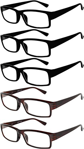 Readers 5 Pack of Elegant Womens Mens Reading Glasses with Beautiful Patterns for Ladies and Gentlemens Deluxe Spring Hinge Stylish Look 180 Day Guarantee - Looking Good Glasses Mens