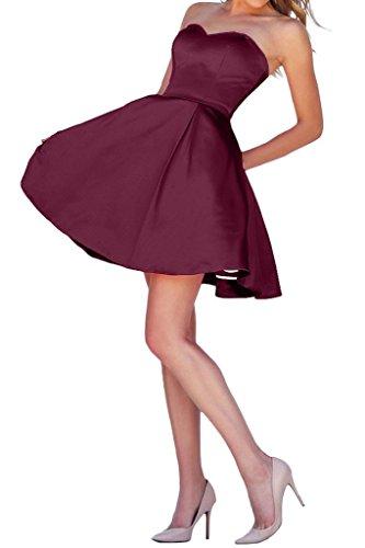 mia Rock Einfach Festlichkleider Burgundy Braut Herzausschnitt Kurz Kleider Satin Mini Jugendweihe Cocktailkleider La Abendkleider A46ZW7q6n