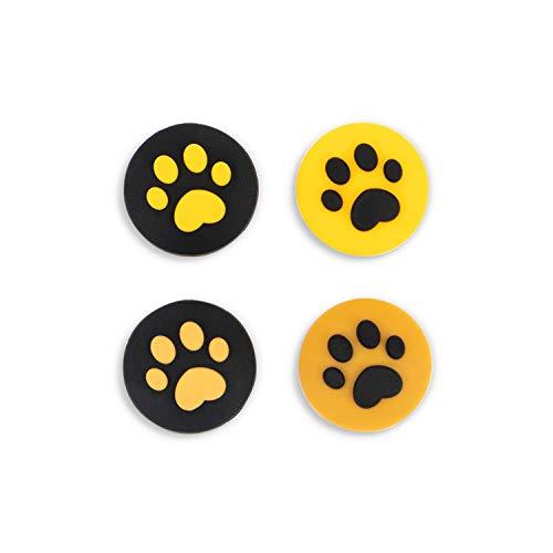 NSTang Joy Con Thumb Grip Set Joystick Caps for Nintendo Switch Cat Paw Silicon Stick Cap for Joy-Con Controller, Yellow & Black, 4 Caps