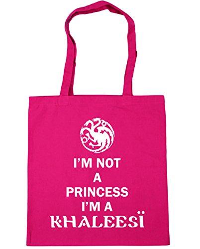 HippoWarehouse I'm not a princess I'm a khaleesi Tote Shopping Gym Beach Bag 42cm x38cm, 10 litres Fuchsia