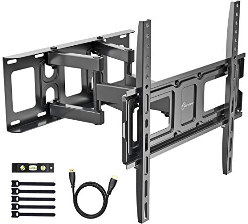 TV Wall Mount Bracket fits to Most 32-55 inch LED,LCD,OLED Flat Panel TVs, Tilt Full Motion Swivel Dual Articulating Arms, Bring Perfect Viewing Angle, Max VESA 400X400, 99lbs Loading-by EVERVIEW