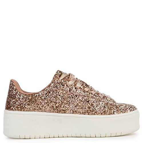 CAPE ROBBIN Kaykay-1 Glitter Rose Gold Platform White Sole Sneakers Shoes cxwWe9o