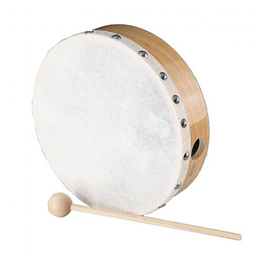 Peace Rh-5-7 7-Inch Maple Tambourine with Beater and Natural Skin ()