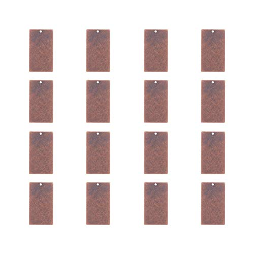 PandaHall Elite 50 Pcs Brass Flat Rectangle Blank Stamping Tag Pendants Charms 32x18x0.5mm Jewelry Making Red Copper