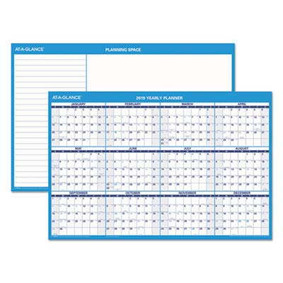 At-A-Glance Products - Erasable Wall Calendar, Horrid., Jan-Dec, 2-Sided, 36amp;quot;x24amp;quot;, Blue - Sold as 1 EA - Erasable Horizontal Wall Planner is ideal for planning office meetings and events. One side has one year of dated planning from January to December, and the other side has a notes and planning section. Both sides are dated. Thick laminated write-on, wipe-off surface allows easy changes and ample writing space in each block. Wall planner includes water-soluble marker.