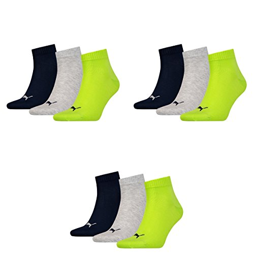 3 pair Puma Sport Socken Short Crew Tennis Socks Gr. 35 - 49 Unisex 064 - lime punch