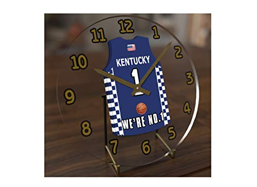 FanPlastic College Basketball USA - We're Number ONE College Hoops Jersey Themed Clocks - Support Your Team !!! (Kentucky Wildcats)