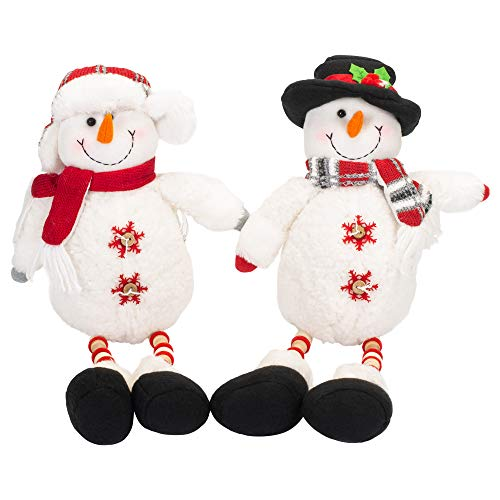 Melrose International Snowman White Polyester 18 inch Shelf Sitting Christmas Figurines Set of ()