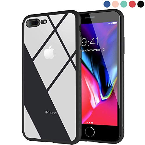Ztotop iPhone 8 Plus Case, iPhone 7 Plus Case, Clear Hybrid Case with Thin Tempered Glass Back Cover and Soft Silicone Rubber Bumper Frame for iPhone 8 Plus/iPhone 7 Plus - Dark Frame