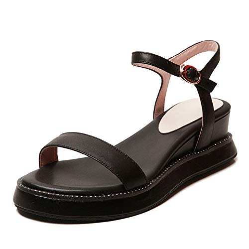 SSLOPY& New Brand Luxury Genuine Leather Shoes Sandals Women 2019 Summer Large Size 34-43 Women High Heels Shoes Woman Black Wedges 8.5